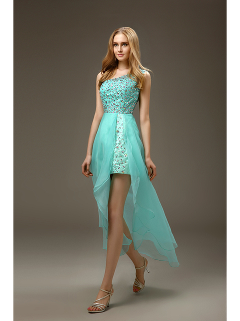 Mint One Shoulder High Low Short Prom Dresses Bling Beaded Crystals Organza 2016 Party Cocktail Dresses With Straps for Juniors