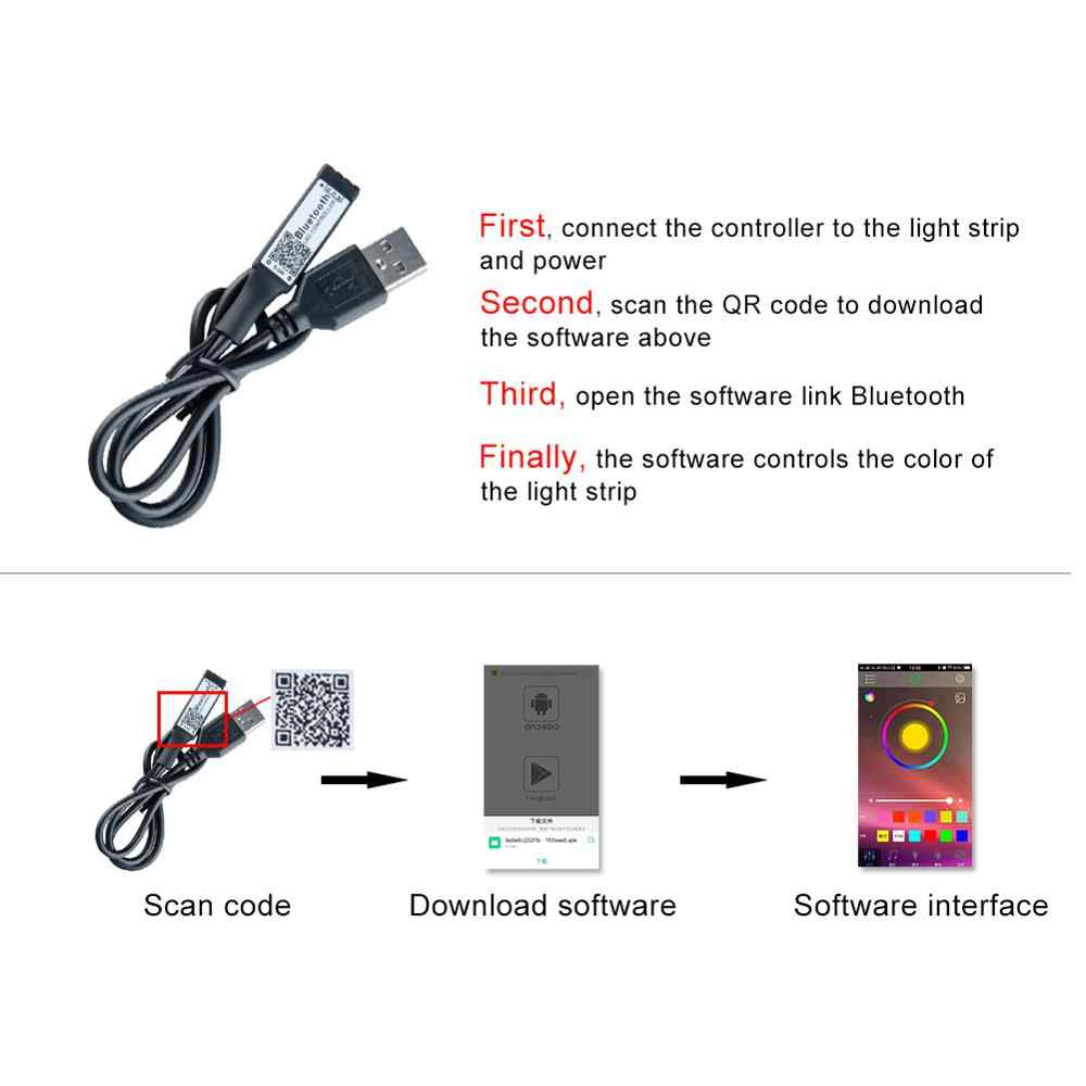 RGB RGBW Светодиодные ленты Bluetooth Управление; USB Порты и разъёмы 4Pin 5Pin IOS телефона Android Беспроводной Управление для 5050 2835 3014 Светодиодные ленты лента