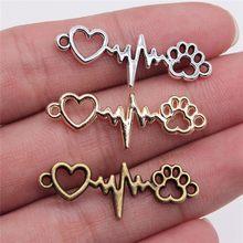 Wysiwyg 20pcs12x34mm jóias diy artesanato encantos garra do cão amor coração ecg conector