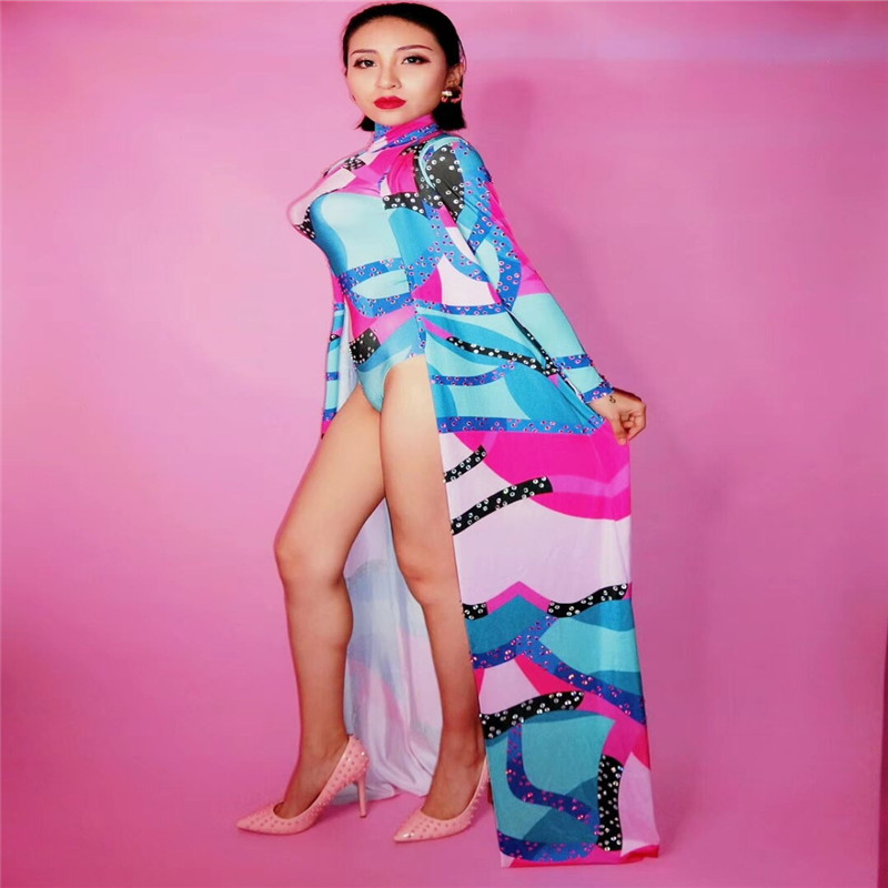 S66 Colorful Printing Crystals Bodysuit ballroom dance costumes bar Cloak Jumpsuit catwalk performance outfit wears clothe djS66 Colorful Printing Crystals Bodysuit ballroom dance costumes bar Cloak Jumpsuit catwalk performance outfit wears clothe dj