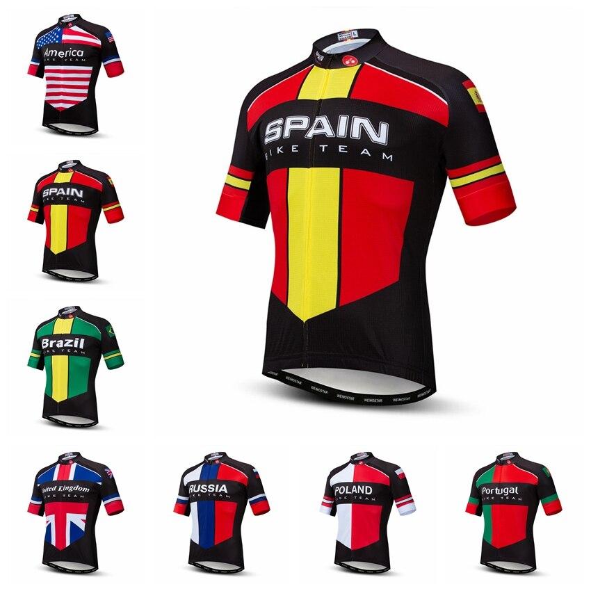 2019 Weimostar Wielertrui Mannen Fiets Jerseys Road Mtb Fiets Kleding Sportkleding Maillot Racing Tops Shirts Spanje Brazilië Rood