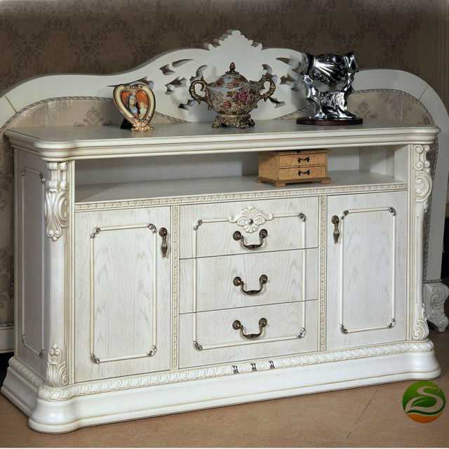 White Solid wood classical sofa back cabinet