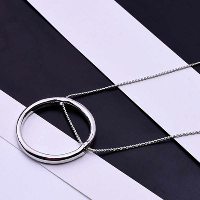 Moda geometria koło naszyjnik dla kobiet/mężczyzn złoty/srebrny kolor hollow okrągły Yang Mi z naszyjnikiem