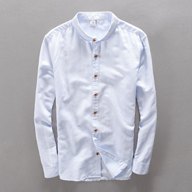 2017 새로운 도착 브랜드 패션 스카이 블루 셔츠 남성 캐주얼 긴 소매 린넨 남성 셔츠 도매 Camisa masculina
