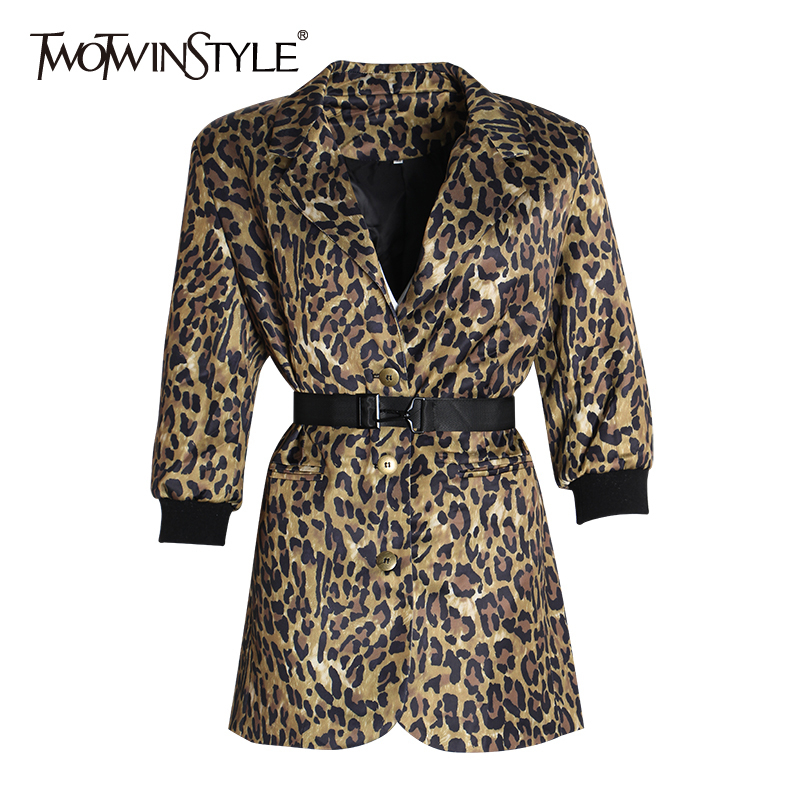 TWOTWINSTYLE Leopard Print Blazer For Women Notched Collar Long Sleeve Sashes Long Elegant Coats Female 2020 Fashion New