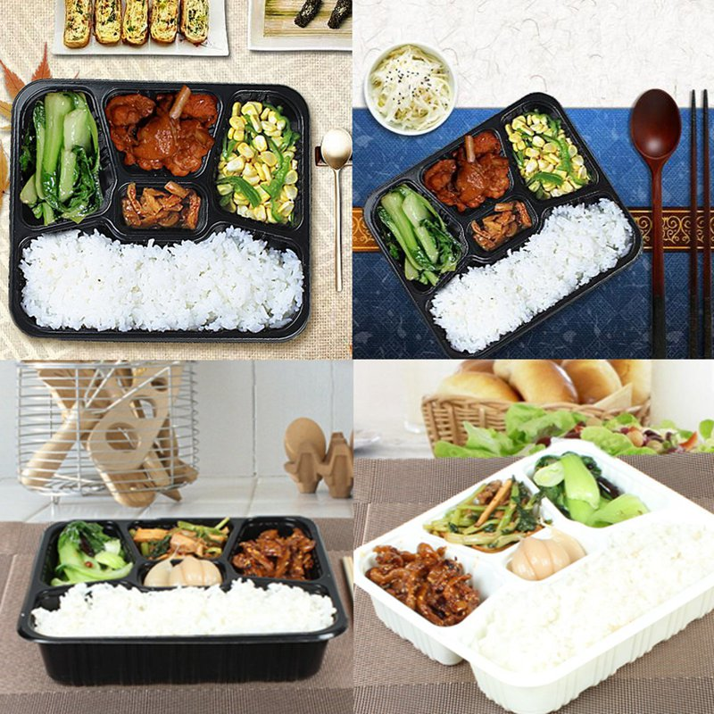 10Pcs Set Meal Prep Containers Food Storage Bento Box 5 Compartments Lunchbox With Lids Microwavable Home