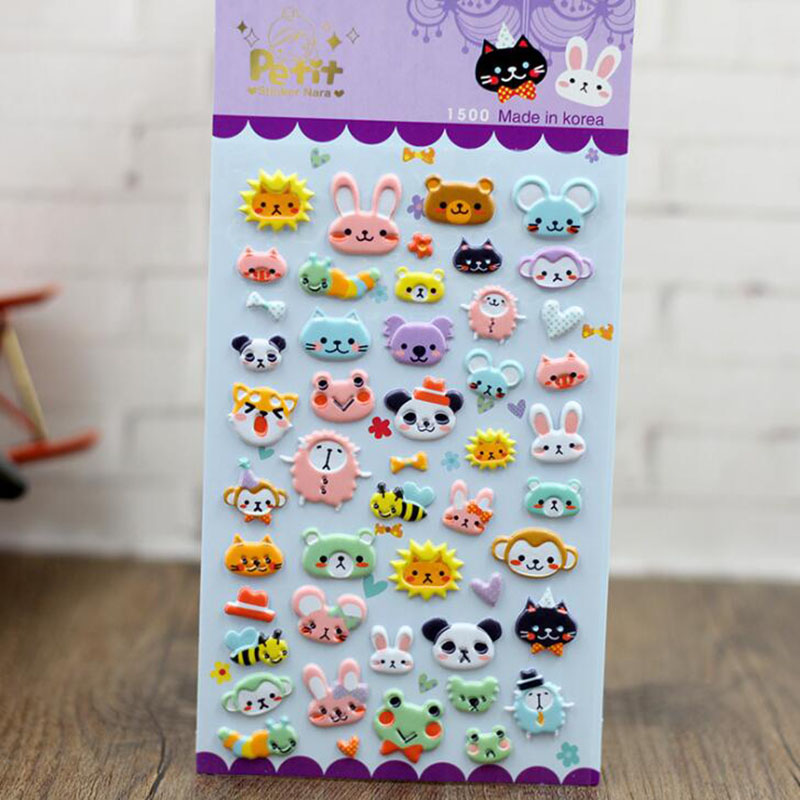 DIY Cute Cartoon 3D Sponge Bubble Stickers Beautiful Animals Kingdom Stickers ChildrenS Toys Gifts 3pcs