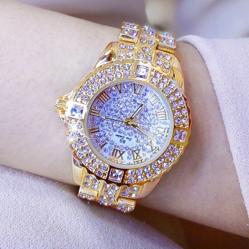 Fashion Rhinestone Gold-plated Women Watches Charm Ladies Wristwatch Bracelet Quartz Watch Women Montre Femme Relogio Feminino