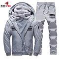 Мужская Капюшоном Кофты и пиджаки печатных Y-8 Мужчины в Пальто С Капюшоном руно теплая Зима Толстовки Кофты Повседневная марка одежды + брюки