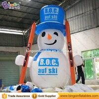 Free express 4 Mt hohe Aufblasbare schneemann mit schlitten für party dekoration blow up snowman ballon für werbe spielzeug