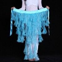 Elegent Cor Sólida Saia Cintura Envoltório Egyptain Lantejoulas Dança Cinto de Dança Do Ventre Cadeia de Cintura Lenço de Quadril Dança Da Menina Das Mulheres