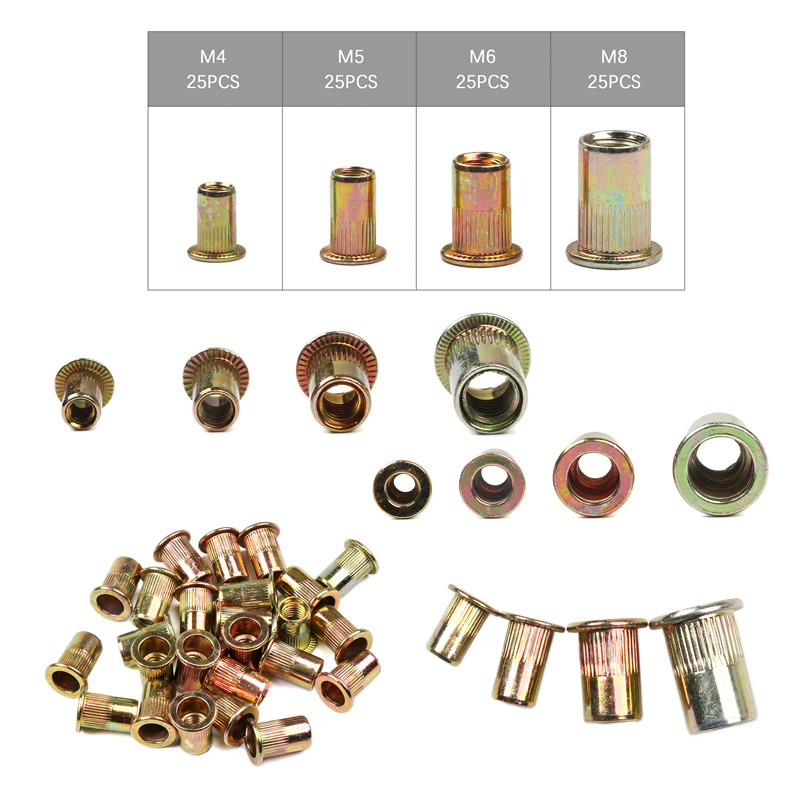 100PCS Carbon Steel Rivet Nuts M4 M5 M6 M8 Flat Head Rivet Nuts Set Nuts Insert Riveting
