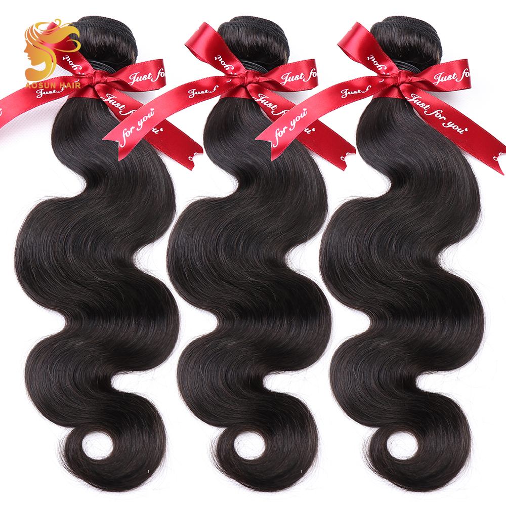 AOSUN HAIR Brazilian Body Wave Hair Bundles Natural Black Color 100 Human Hair Weave 3 Piece