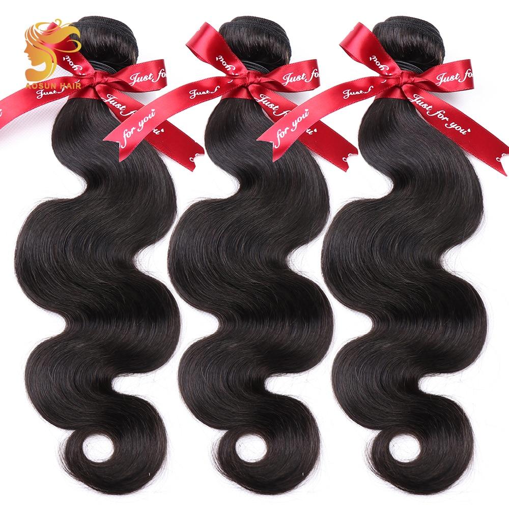 3/4 Bundles Aosun Hair Brazilian Body Wave Hair Bundles Natural Black Color 100% Human Hair Weave 3 Piece 8-26inch Remy Hair Extension Pure Whiteness