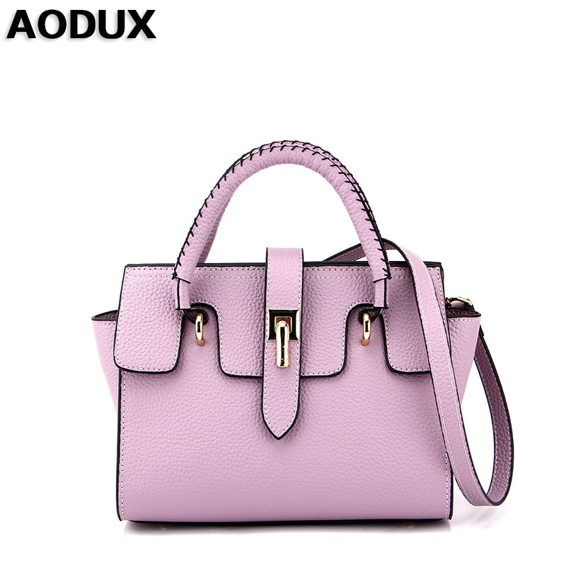 AODUX 2018 New Fashion Top Quality Brand Luxury Famous Soft Genuine Leather Women Designer Handbag Tote Shoulder Messenger Bag 2015 genuine leather women handbag new style shoulder bag famous brand lace women messenger bag fashion tote top handle bag