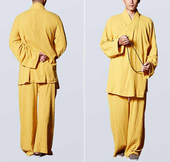 Unisex Zomer katoen kung fu lohan/arhat past lag meditatie uniformen Zen boeddhistische shaolin monnik kleding grijs/groen /blauw/geel
