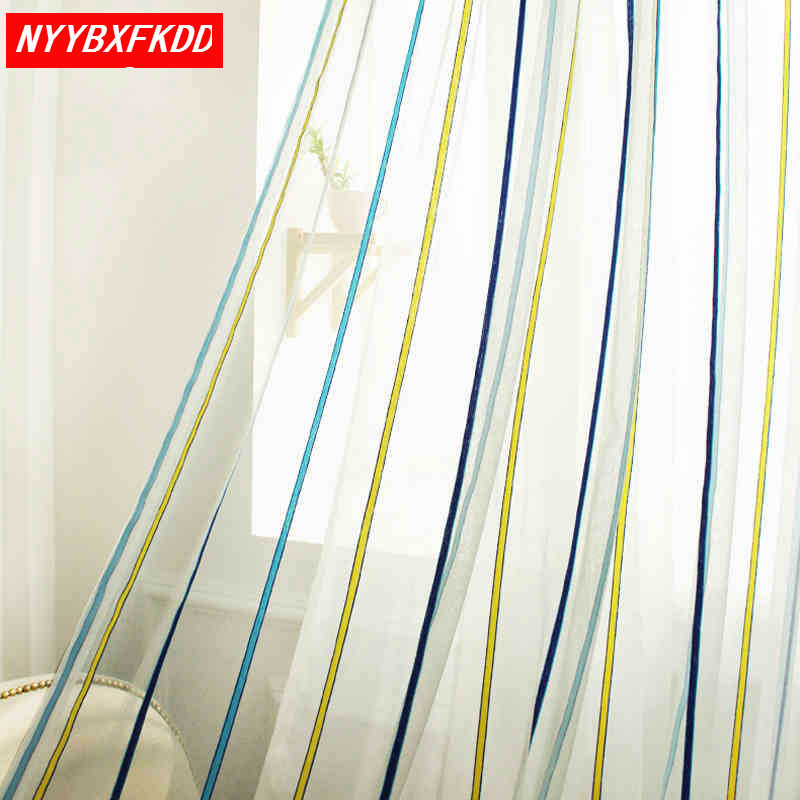 Modern striped tulle curtains bedroom European curtains gauze screens curtain tulle gauze fashion gauze quality products