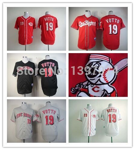 hot sale online 15ea0 c9e0b New Joey Votto Jersey Mens Black White Red Cincinnati Reds ...