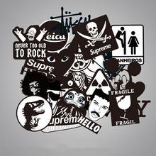 100 шт./лот, прозрачные черно-белые Фирменные наклейки с граффити для скрапбукинга, скейтборда, водонепроницаемые ПВХ наклейки для ноутбука и багажа, упаковка