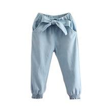 Del bambino Della Ragazza Dei Jeans 2018 Casual di Autunno della Molla 2 3  4-9 10 11 12 Anni Per Bambini Adolescenti Arco Elasti. 7b0820d750f