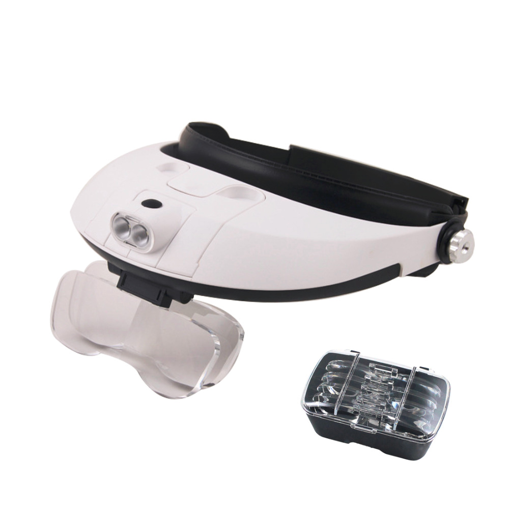 High quality Headband 5Lens Third Hand Magnifier Light Jewelry Repair Reading Magnifying Glass dental loupes differential jewelry antique hand held magnifying glass led light reading office equipment maintenance of high standard with the soldering iron plug led