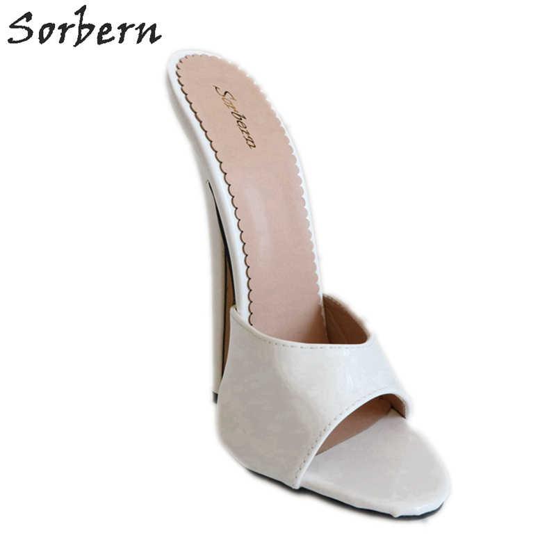 Sorbern 18cm białe błyszczące kapcie kobiety slip on peep toe letnie buty w stylu panie szpilki slajdy runway buty damskie 2018