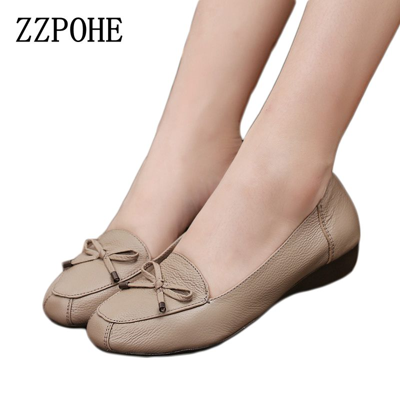 ZZPOHE Spring Mother fashion shoes leather Soft bottom comfortable flat shoes women large size shoes 35 40 41 Ladies shoes aiyuqi big size 41 42 43 women s comfortable shoes 2018 new spring leather shoes dress professional work mother shoes women