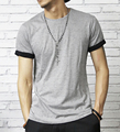 t-shirt men 2016 summer O-neck short sleeved cotton stretch Lycra  tight men black  slim camisetas men tshirt
