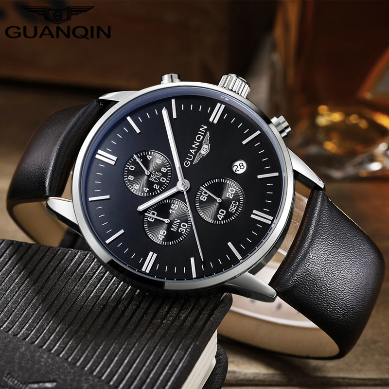 mens watches top brand luxury guanqin quartz