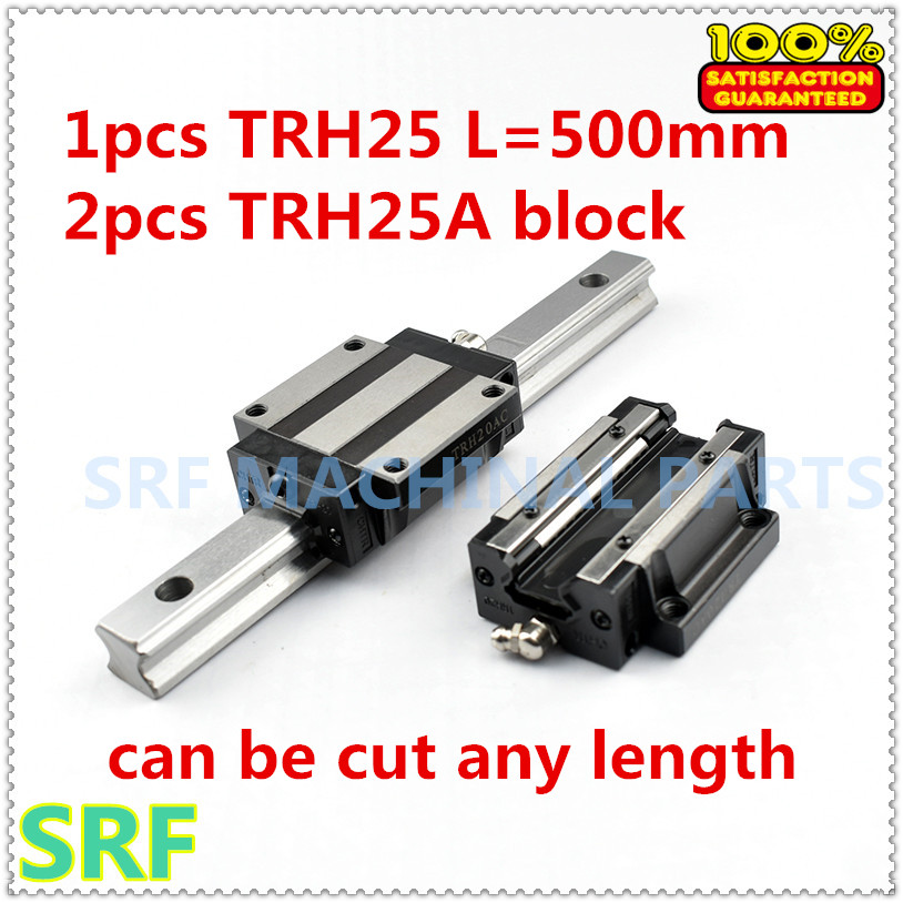 1pcs Linear rail TRH25 L=500mm Linear guide rail +2pcs TRH25A Flange slide block for CNC part 1pc trh25 length 1500mm linear guide rail linear slide track auto slide rail for sewing machiner