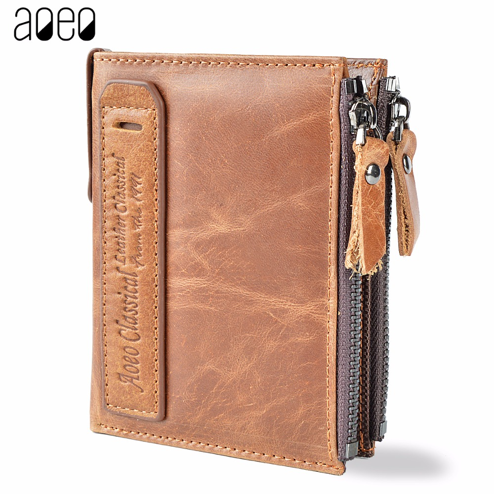 AOEO Genuine Crazy Horse Cowhide Leather Men Wallet Short Coin Bag Small Vintage Wallets Male High Quality Designer Purses Money
