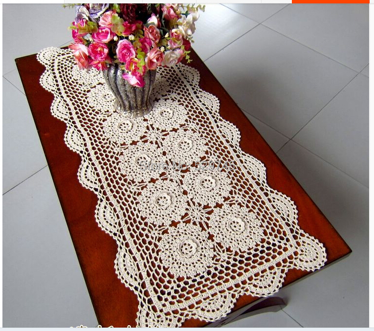 New Three-dimensional flowers Crochet Cotton Doilies decorated furniture  Cover cloth Table Runner rectangular tablecloth