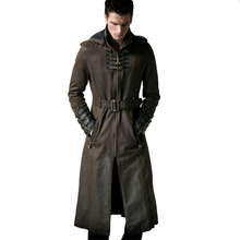 Men coat trench jacket men winter long coat men Loop Hooded Trench vintage Twill Windbreaker of adjustable waist belt supernatural castiel twill trench coat suit set coplay costume