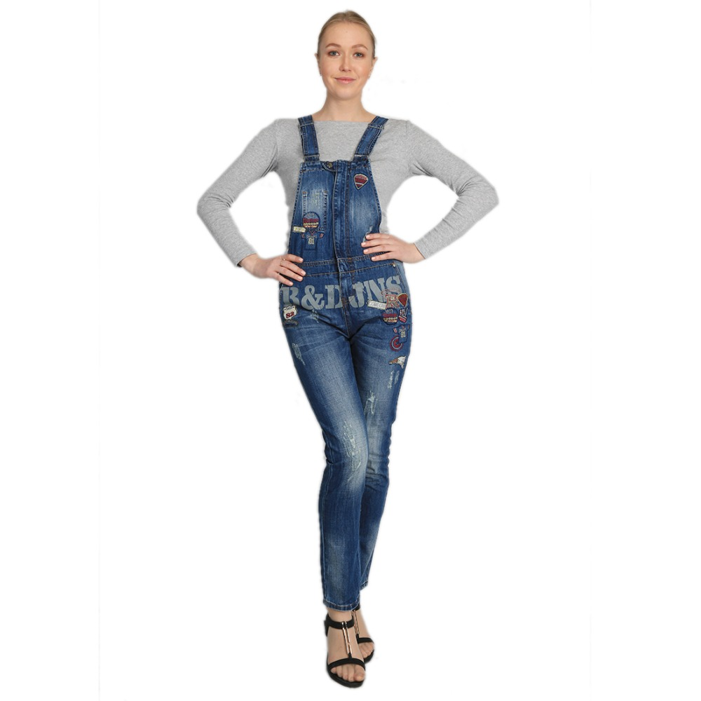 She Xiang Mrs Womens Overall Embroidered Jeans Pants -4466