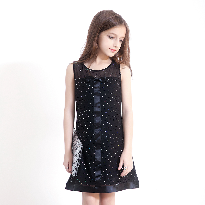 Spangly Dot Black Evening Dresses Kids Frock Designs Princess Girl
