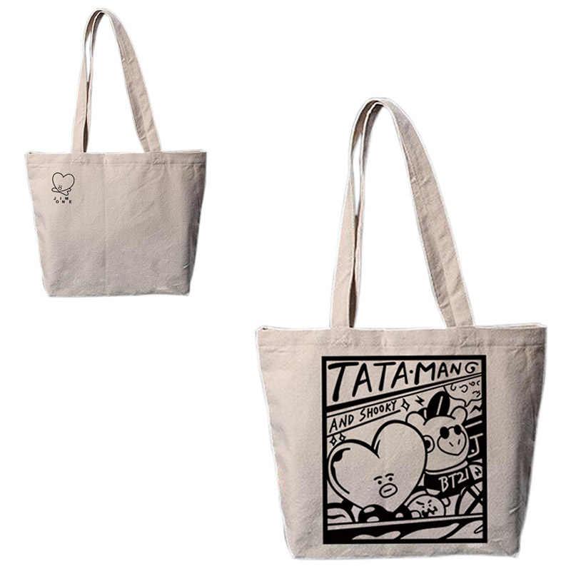 0d1dc596f6 New Kpop BTS Bangtan TATA MANG And Shooky Same handbag Cartoon Canvas Bag  Fashion Schoolbag Shoulder