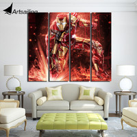 4 Piece Canvas Red Robot Sparking Movie Posters And Prints Wall Decorations Living Room Wall Frames
