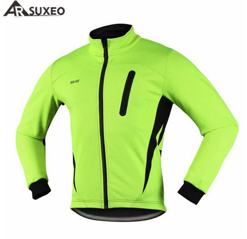 ARSUXEO Thermal Cycling Jacket Windproof Waterproof Winter Warm Up Fleece Bicycle Clothing Sports Coat MTB Bike Jersey