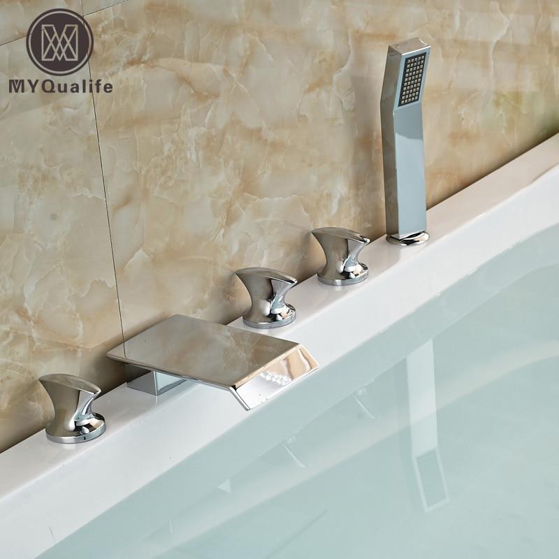 Deck Mount 5Pc Tub Waterfall Faucet Chrome Finish Bathroom Bathtub Filler With Handshower