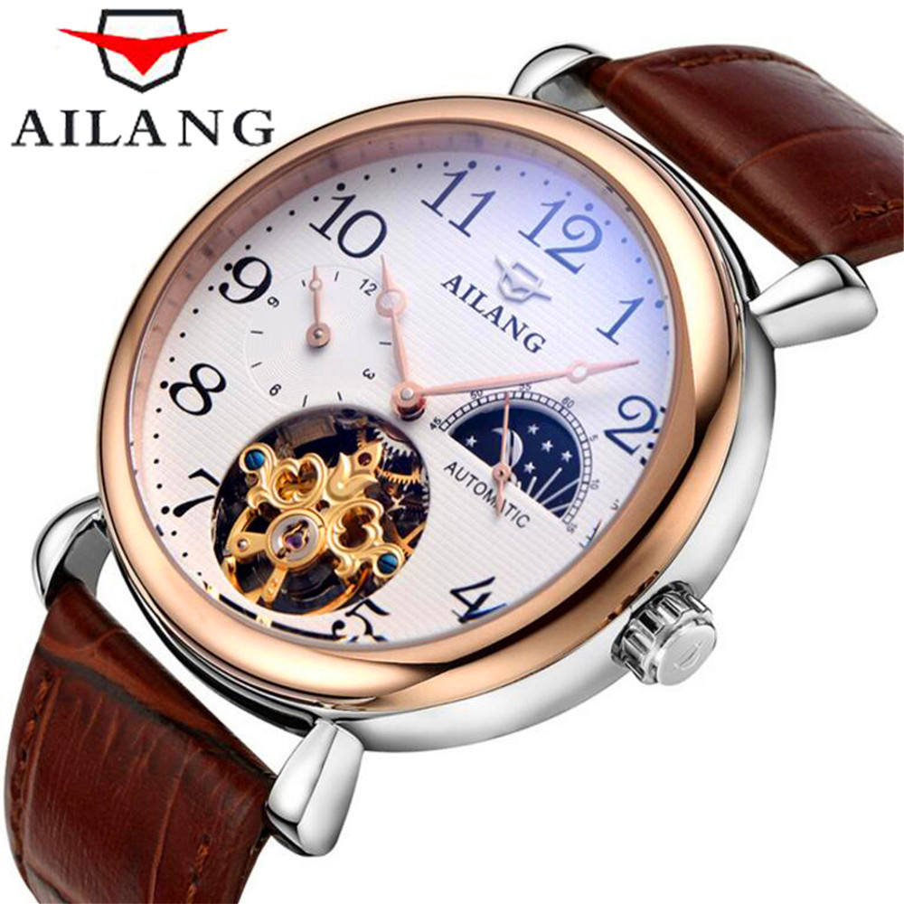 Mens Watches Top Brand Luxury AILANG Men Watch Sport Tourbillon Automatic Mechanical Leather Wristwatch relogio masculino 2017 forsining automatic tourbillon men watch roman numerals with diamonds mechanical watches relogio automatico masculino mens clock