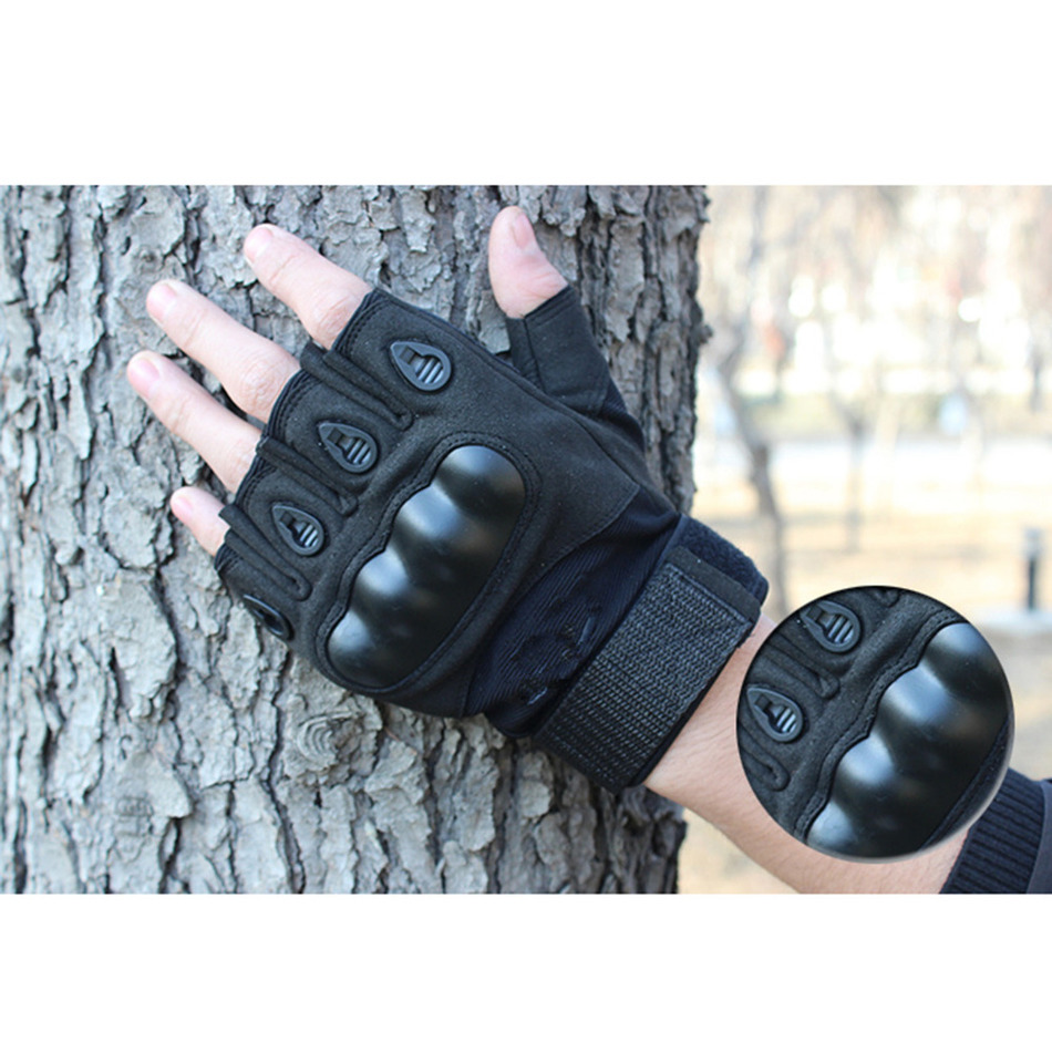 Fingerless gloves climbing - Tactical Military Gloves Mittens Men Male Fingerless Army Gloves Bicycle Antiskid Fitness Army Tactical Workout Moto