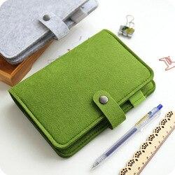 JIANWU A5 A6 simples snap sentiu tecido fichário caderno diário criativo material de escritório fichário