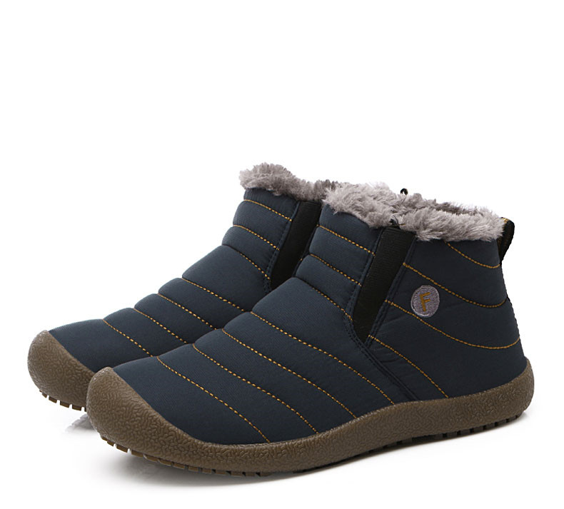 UBFEN New Men Snow Boots Ankle Boots Slip-on Top Quality Male Boots Fashion Style Winter Male Casual Shoes Big Size 35~46
