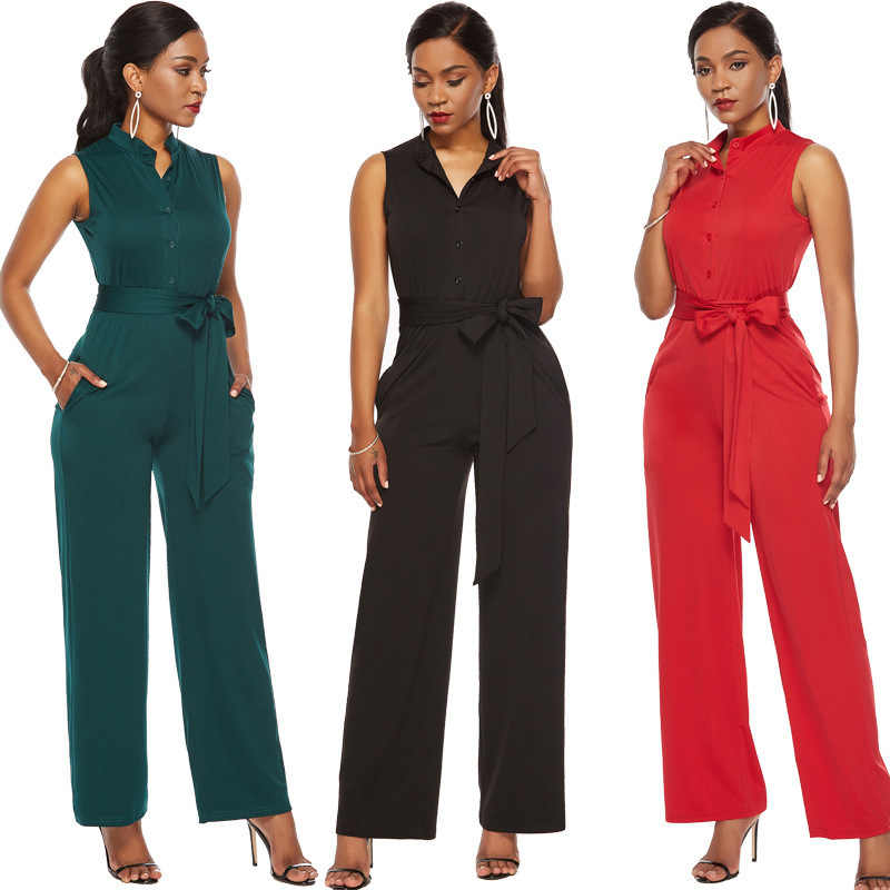 2019 Summer Women Casual Sleeveless Jumpsuits Coveralls Fashion Ladies Bodysuit Wide Leg Loose Long Romper Pants Trousers