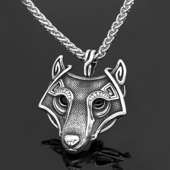 Stainless Steel Norse Viking Wolf Head Pendant Necklace  Viking Necklace