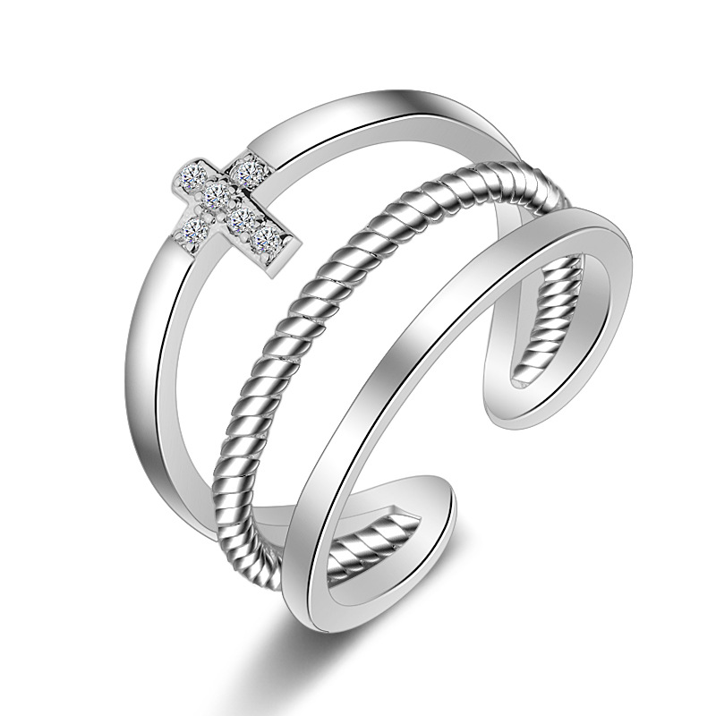 PATICO 100% Solid 925 Sterling Silver Finger Rings for Men Women Opening Adjustable with CZ Stone Zircon Cross Design Free Size
