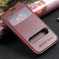 Luxury brand flip leather case for Galaxy Core G355H book cover  view window  original pu support stand  phone cases new man