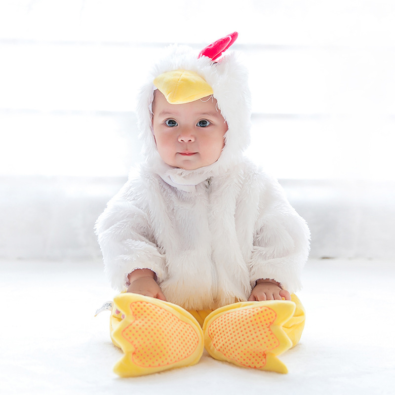 Chick Jumpsuit Romper Christmas Baby Cartoon Costume Boys Girls Halloween Kids Clothing Cosplay Character Gift Infant Rompers christmas costumes children animal cosplay rompers inflatable funny chick fancy kids baby 7 24m halloween costume disfraces