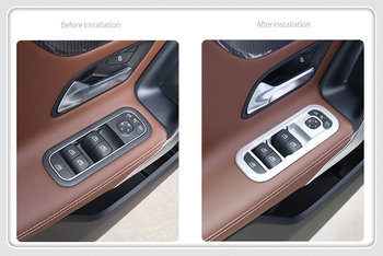 For Mercedes-Benz A Class W177 2019 Car Interior Armrest Window Switch Lift Cover Trim 4pcs ABS Plastic Auto Accessories