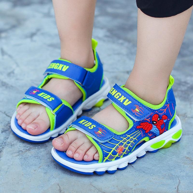 The Avengers Spiderman Kids Sandals Boys Beach Shoes Baby Summer Flats Hero Superman Footwear Children Infantil